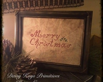 Primitive Christmas | Merry Christmas | Christmas Sampler | Primitive Christmas Decor | Holly | Primitive Christmas Cross Stitch