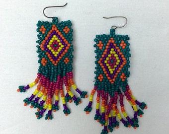 Rainbow Beaded Fringe Earrings/ Colorful Long Earrings