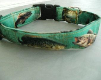 Dog Collars, Dog Collar, Custom Dog Collar, Fishing, Designer Dog Collars - Large Dog Collar - Small Dog Collar - Cool Dog Collars