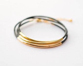 Black leather triple bracelet with three gold tubes - minimalist dainty jewelry, friendship bracelet, gift for her