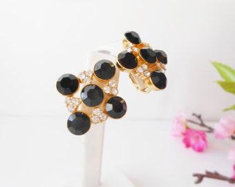 Vintage Earrings Black Stone and Rhinestone Glamorous Costume Jewelry Clip On
