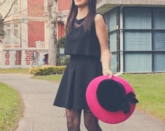 Wide brim Hot pink felt hat - Wide brim felt hat - Wool felt hat - Felt and velvet hat for women