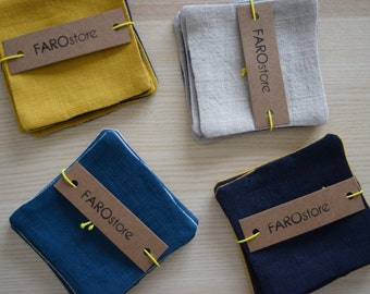 COASTERS LINEN, Navy and Mustard coasters or beige and Petroleum Linen Fabric, Natural Linens