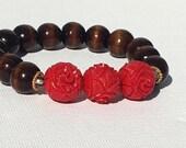 24K gold Bali Vermeil Wood with Red Carved Beads Stretch Boho Bead Bracelet - B0099