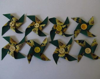 8 Fabric Pinwheels, Vintage Buttons, 3 Inches Across, Yellow, Green Sunflowers.