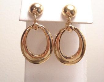 Lovely Vintage Monet Hoop Gold Tone Clip On Earrings