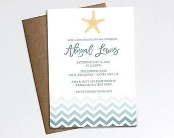 Bridal Shower invitation, Ocean, starfish, chevron, blue invite