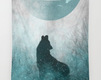 Lunar Tapestry | Wolf Tapestry | Magical Tapestry | Space Tapestry | Hippie Tapestry | Space Art | Galaxy Art | Galaxy Tapestry