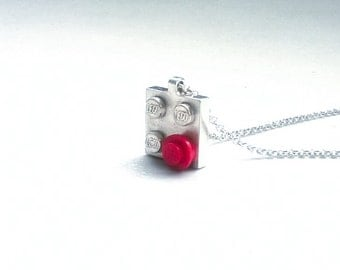 Handmade Sterling silver Lego necklace 2x2.