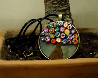 Mosaic Necklace, Tree of life, Stained Glass pendant, Gift for Her, free shipping