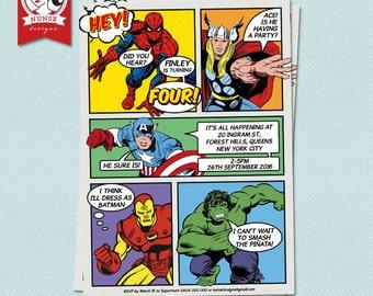 SUPERHERO Birthday Invitation //  Superhero Party // Avengers // Kids Birthday // Custom, Printable