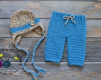 Crochet Newborn baby boy hat and pants set photography prop infant baby hat photo prop crochet baby hat- Made to order