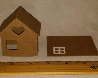 Putz Style Glitter House -Mini HEART COTTAGE-Ornament/House -DIY