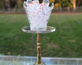 Dollhouse Miniatures - Glass Ice Bucket w/ 3 Bottles of Liquor on Brass Stand - Nice Upscale, Great for Wine Bar, Restaurant, Bar