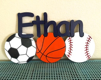 Boy's Room Sports Personalized Engraved Wood Sign