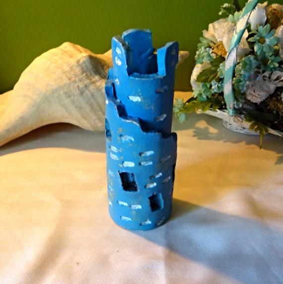 blue castle tower ceramic wrap castle hand crafted play castle decor gold undertones - Blue Castle Decor