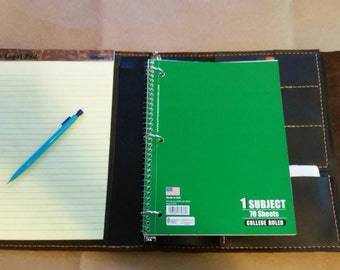 Large Leather Portfolio Notebook Holder with refillable Three Ring Binder, legal pad, business card holders and phone pocket