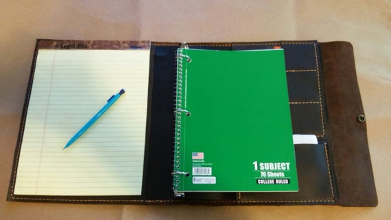 Large Leather Portfolio Notebook Holder With Refillable Three