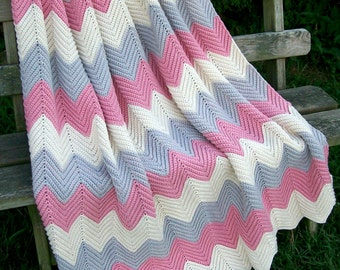 "Vintage Chevron ZIG ZAG  Ripple LARGE 48"" x 72"" Afghan Hand Made Multi Color Pastels Rose, Ivory & Grayish Purple"