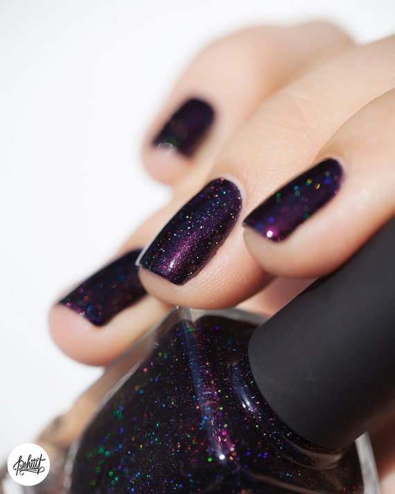 Dark Holographic Nail Polish: Dark Purple Holographic Nail Polish From