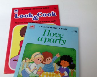 2 Golden Coloring Books - Look & Cook and I Love a Party - 1980's
