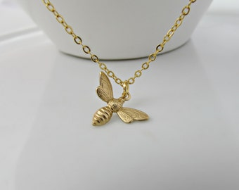 Bee Necklace, Gold Bee Necklace, Bridesmaid Gifts, British Seller UK, Nature Gifts, Gifts for Girls, Daughter Gifts, Woodland Gifts, BFF