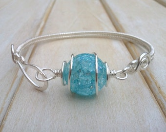 Blue Quartz Bangle  - Wire Wrapped Jewellery Handmade -  Crackled Quartz Jewellery - Wire Wrapped Bracelet