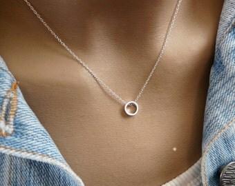 Karma necklace, Circle necklace, Dainty circle necklace, Silver karma necklace, Tiny circle necklace, Delicate silver necklace