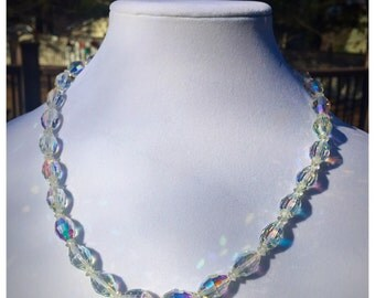Vintage Faceted Crystal Bead Necklace, Bridal Jewelry, Clear Crystal Necklace