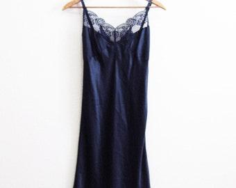 Sensual Black Lace Satin Slip Natori Small