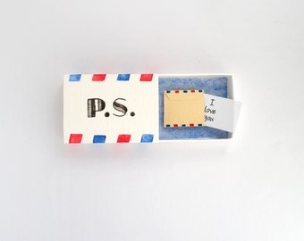Ps I love you, love mail, boyfriend gift, girlfriend gift, love card, Valentine's day, matchbox art, message box, you've got mail, for him