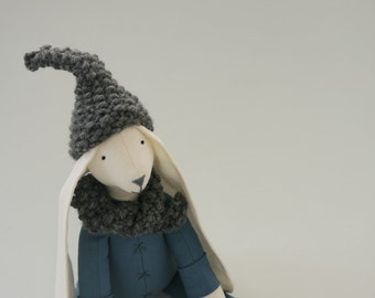Minimalist Fabric Boy Doll Rabbit Quirky Cuddly Textile Toy Bunny in Air Force Blue Garberdine  with Grey Wool Scarf Called Marlow UK Seller