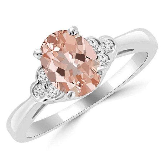 172ct Oval Peach Pink Morganite & Diamond 14k White Yellow. Unique Classic Engagement Engagement Rings. Plant Wedding Rings. Unique Colored Wedding Engagement Rings. Baguette Wedding Rings. Brown Rings. 3stoneengagement Engagement Rings. Power Rings. Hand Female Engagement Rings