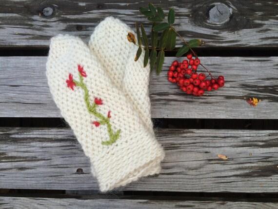 Mitaines, pure laine, laine islandaise pour dame taille moyenne/grande, blanc, rouge, vert, prêt à expédier