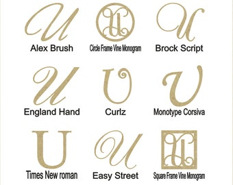 """Wooden Wedding Cake Topper Letter """"U""""- Also Perfect for Birthday Cake Toppers"""