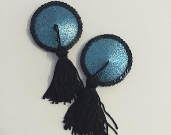 Black & Blue Glitter Nipple Tassels
