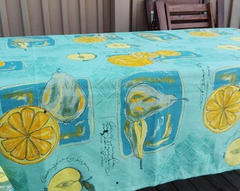 Lovely Swedish vintage linen and cotton tablecloth with printed fruits. Scandinavian vintage 1960s.