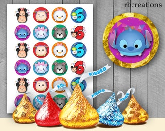 Tsum Tsum Hershey Kiss Stickers for Birthday Party - Avery label digital file