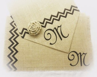 Burlap Table Runner & (6) placemats set with Monogram - Home decor Holiday decorating Wedding decor