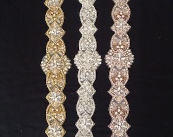 Luxury Bridal Sash Rhinestone Applique in Rose Gold, Gold, Silver