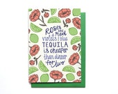 Funny Valentines Day Card - Anti Valentine Card - Funny Anti-Love Card - Love Stinks Card - Funny Anti-Valentines Day Card - Tequila