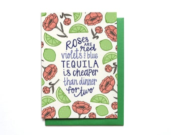 Funny Anti-Love Card - Funny Valentines Day Card - Anti Valentine Card - Love Stinks Card - Funny Anti-Valentines Day Card - Tequila - LV27