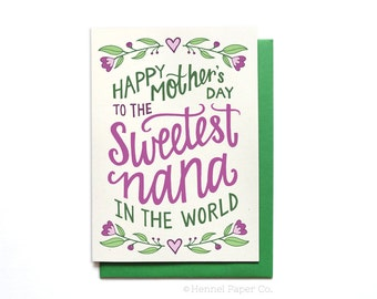 Nana Mothers Day Card Floral - Sweetest Nana in the World - Grandma Card - Grandmother Card - Mothers Day Card Unique - MD23