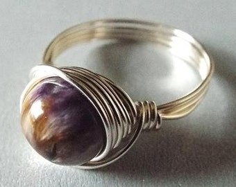 Charoite Ring, Birthday Gift, Gift for Best Friend, Boho Rings, Purple Stone Ring, Wire Wrapped Ring, Silver Gemstone Ring, Russian Jewelry