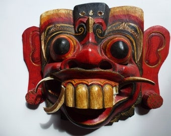 Vintage Handmade Carved Wooden Balinese Wall Mask