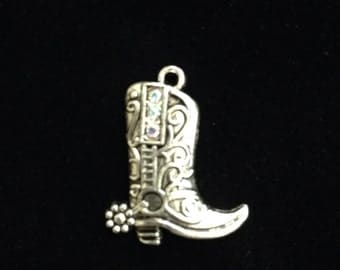 6 Pieces Boot Charms with AB Rhinestone accents silver boot charms 23x4mm Antique Silver Finish, Rhinestone boots 10-7-R