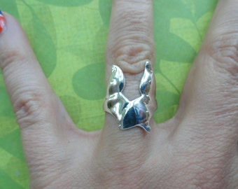 Whale tail sterling silver wrap ring