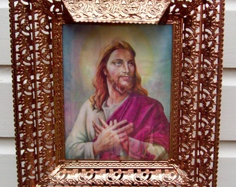 Vintage Life Like Religious Shadow Box In Full Living Color Jesus 3D Movable Lighted Ornate Framed Wall Hanging J&L Mirror Novelty Co.