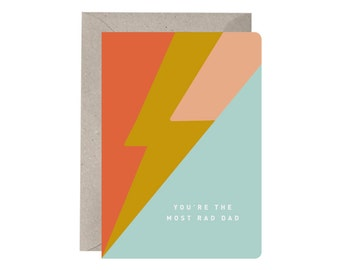Dad Card - You're the Most Rad Dad. Dad Card. Fathers Day Card. Rhyming Dad Card. Recycled. Greeting Card. Rad Dad.