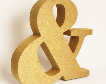 "Ampersand symbol, natural wood home decor, shelf decoration, 4.5"" tall paintable symbol, initial letter connector, alphabet room decor"